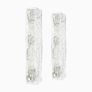 Große deutsche Murano Eisglas Vanity Wandleuchten von Kaiser für Kaiser Idell / Kaiser Leuchten, 1970er, 2er Set