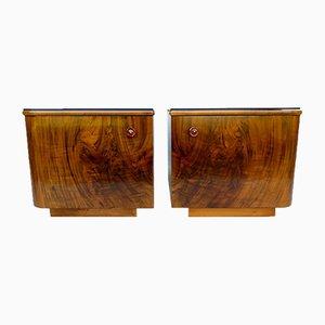 Tables de Chevet Retro Vintage en Noyer, Set de 2