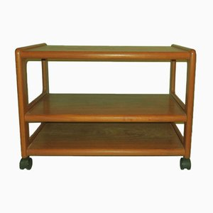 Danish Teak 3-Tier Serving Trolley on Wheels, 1960s