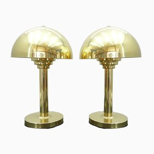 Gold-Colored Table Lamps, 1970s, Set of 2
