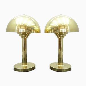 Goldfarbene Tischlampen, 1970er, 2er Set