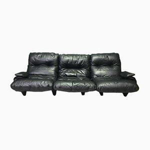 Modulares Vintage 3-Sitzer Sofa aus schwarzem Leder von Ligne Roset, 2er Set