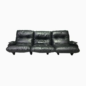 Vintage Modular Black Leather Marsala 3-Seat Sofa by Ligne Roset, Set of 2s