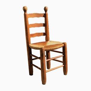 Brutalistische Stühle aus Massiver Eiche mit Stroh Sitzen, 1960er, 8er Set