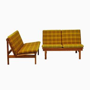 Canapé Convertible 2219 Vintage en Chêne par Børge Mogensen pour Fredericia, Set de 2