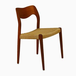 Vintage Teak & Papercord 71 Chairs by Niels Otto Møller for J. L. Mollers, Set of 4