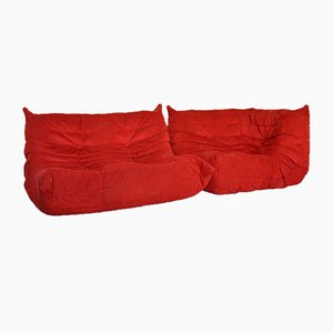 Alcantara Modular Togo Sofa Set by Michel Ducaroy for Ligne Roset, 1990s, Set of 2