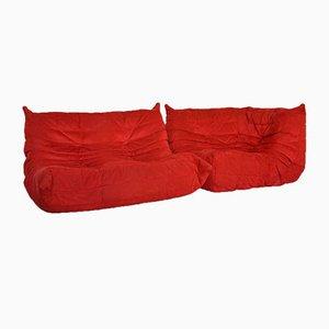 Alcantara Modular Togo Sofa Set by Michel Ducaroy for Ligne Roset, 1990s, Set of 2