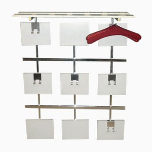 White & Chrome Wall Coat and Hat Rack with 3 Hangers, 1970s