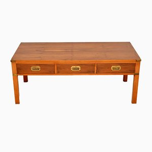 Antique Military Campaign Style Yew Coffee Table