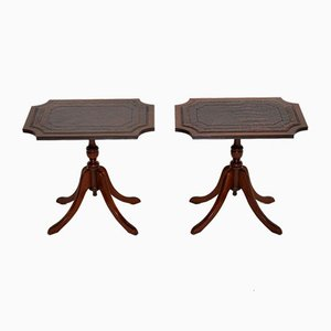 Antique Regency Style Leather Top Side Tables, Set of 2