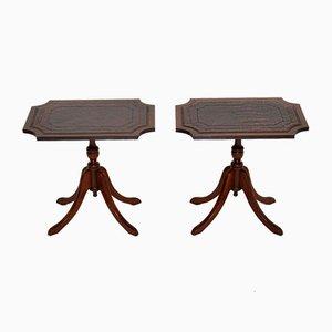 Tables d'Appoint Antiques de Style Régence en Cuir, Set de 2