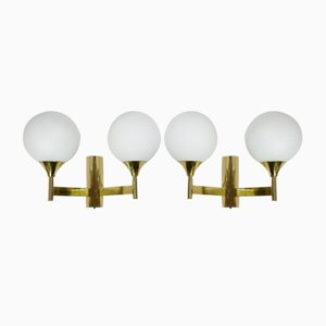 Brass Wall Lamps with Opaline Glass Globes from Kaiser, 1960s, Set of 2