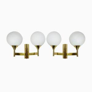 Messing Wandlampen mit Opalglas Kugeln von Kaiser, 1960er, 2er Set