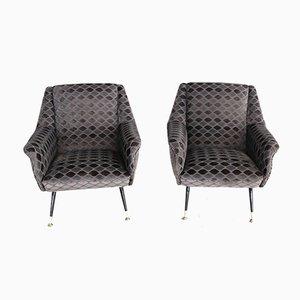 Italienische Vintage Rhomber Sessel aus Samt mit Messingspitzen, 1950er, 2er Set