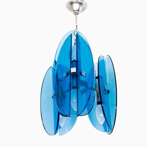 Italian Cobalt Blue Crystal Glass Ceiling Lamp in the Style of Fontana Arte from Veca