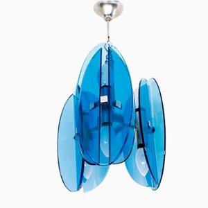 Lampada da soffitto in cristallo blu cobalto nello stile di Fontana Arte di Veca