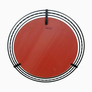 Large Round Mirror with Wrought Iron Frame, 1960s