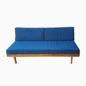 Dormeuse o divano letto con struttura in faggio giallo-marrone e stoffa blu, anni '50