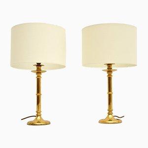 Lampade da tavolo vintage in ottone, anni '70, set di 2