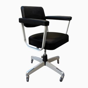 Vintage Japanese Silver Metal & Black Leatherette Desk Chair on 4 Wheels from Fujiset, 1960s
