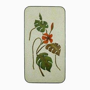 Große Florale Wandtafel aus Keramik & Eisen von Krösselbach, 1950er
