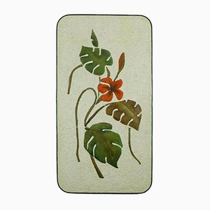 Large Ceramic Plaster Wall Plaque with Floral Design & Iron Rim from Krösselbach, 1950s