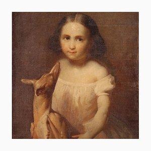 Portrait d'une Petite Fille avec un Petit Chien, 19ème Siècle