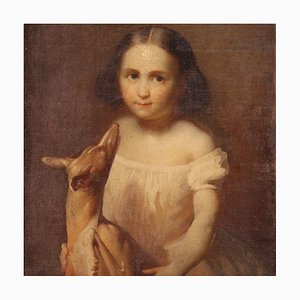 Portrait eines kleinen Mädchens mit kleinem Hund, 19. Jahrhundert