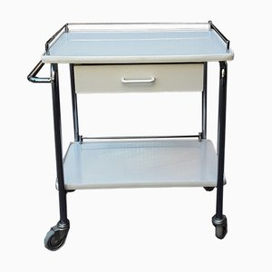 Chromed Tubular Steel Trolley with White Coated Chipboard Drawer & 2 White Formica Shelves, 1970s