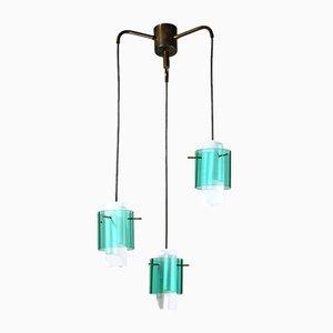 Italienische 3-Leuchten Hängelampe aus Glas, 1960er