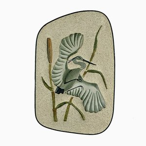 Large Ceramic Wall Plaque Depicting Heron in the Reeds from Krösselbach, 1950s