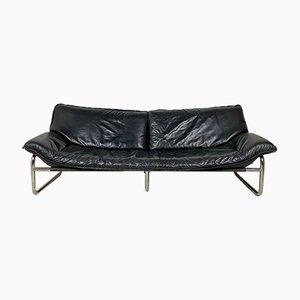 Verchromtes Sofa aus Stahlrohr & Leder, 1970er