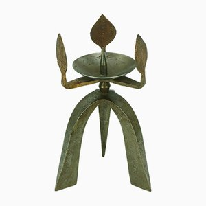 Brutalist Iron & Copper Three-Arm Candlestick, 1960s