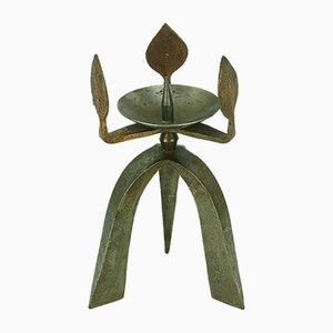 Brutalistischer Dreiarmiger Kerzenständer aus Eisen & Kupfer, 1960er