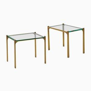 Tables en Laiton avec Plateaux en Verre, 1970s, Set de 2