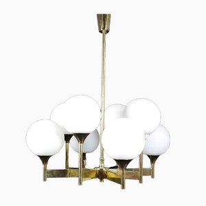 Brass Sputnik Chandelier with 8 Opaline Glass Globes from Kaiser, 1960s