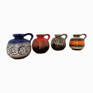 Jarrones 484-21 alemanes de cerámica de Scheurich, años 60. Juego de 4