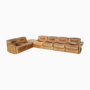 Unterteiltes Vintage Leder DS14 Sofa von de Sede, 6er Set
