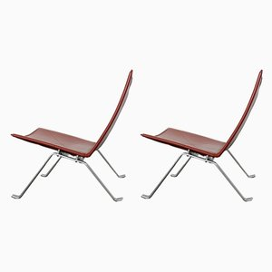 Vintage Leather PK 22 Lounge Chairs by Poul Kjaerholm for Fritz Hansen, Set of 2