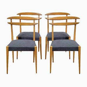 Italian Blonde Beech Chairs, 1950s, Set of 4