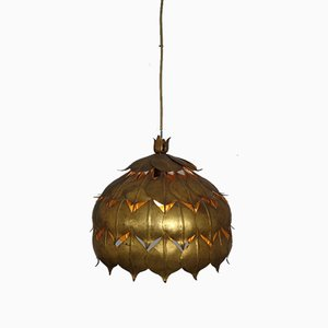 Large French Brass Lotus Ceiling Lamp, 1940s