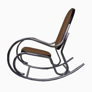 Mid-Century Tubular Steel & Mesh Rocking Chair, 1960s