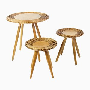 Wicker Coffee Table with 2 Stools from ÚĽUV, 1960s, Set of 3