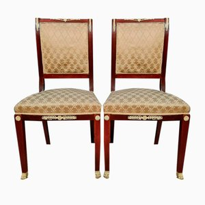 Empire Mahogany Chairs with Silk-Like Upholstery, 1850s, Set of 2