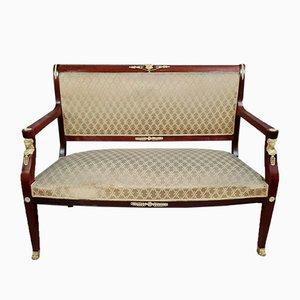 Banco Imperio de caoba con tapicería similar a la seda y cariátides, década de 1800