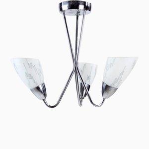 Czechoslovakian Brussels Style Chrome & Glass Ceiling Lamp, 1960s