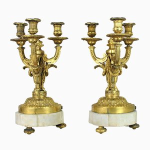 Candélabre 19ème Siècle en Bronze Doré, Set de 2