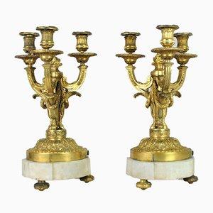 Vergoldeter Bronze Kerzenständer aus 19. Jahrhundert, 2er Set