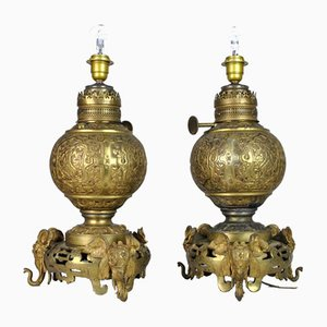 19th Century Japanese Bronze Elephants Lamps, Set of 2